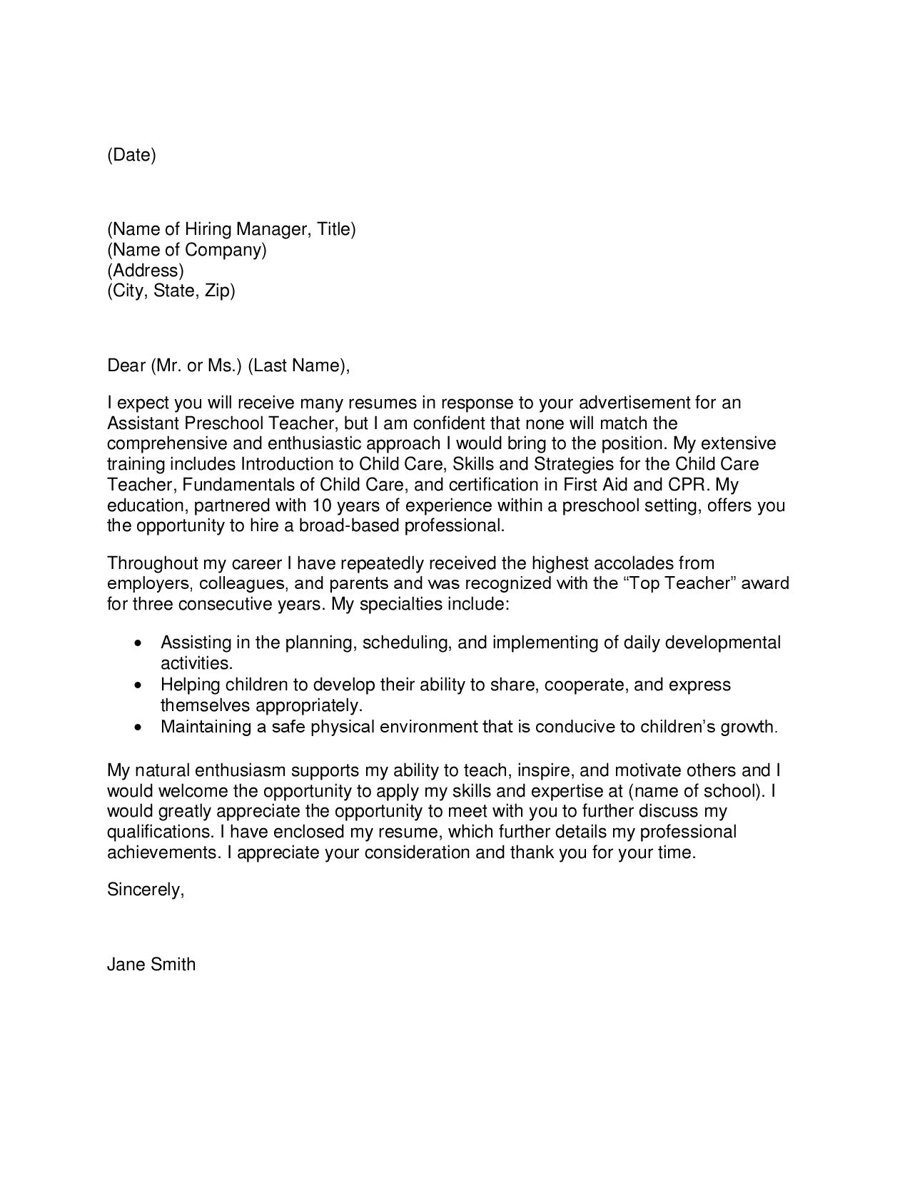 sample pre school teacher cover letter  socialsci cosample
