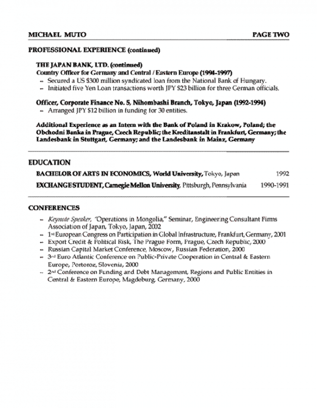 Banker-Resume-Page-2-e1422644733265 Japanese Format Example on mla research paper, apa title page, formal letter, example report, proper cover letter, apa style paper, application letter, apa appendix, simple business letter,
