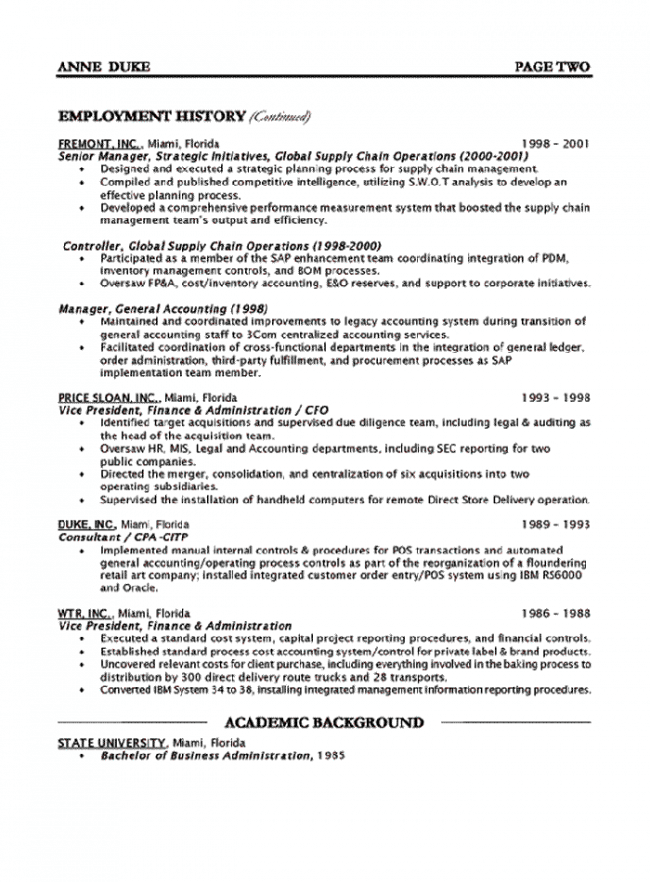 Chief Financial Officer Resume 2