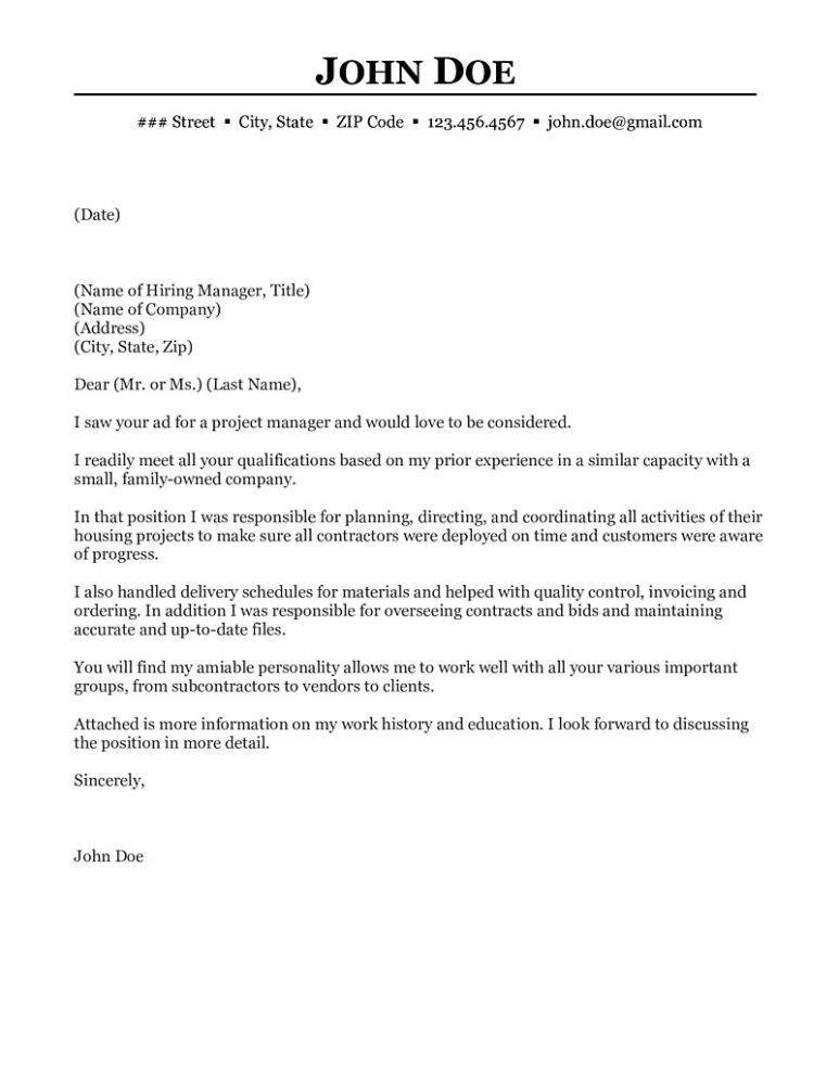 project manager cover letter construction project manager cover letter 24129
