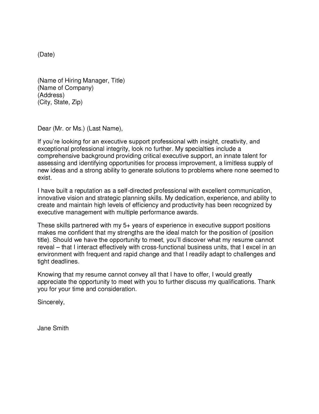Cover Letter For Server