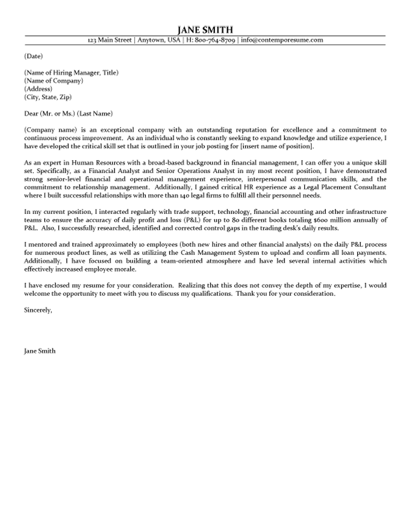 Resume Human Resources Cover Letters For Resumes hr sample resume vp free example and writing event planning template risk officer service manager examples cover letter samp
