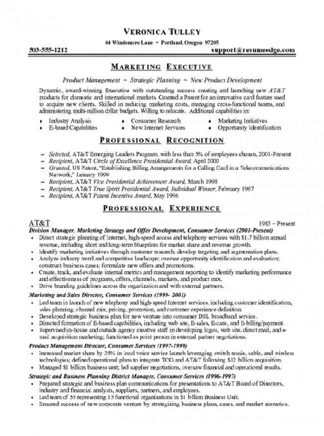 Marketing Executive Resume Page 1