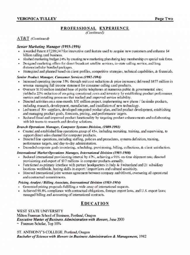 Marketing Executive Resume Page 2
