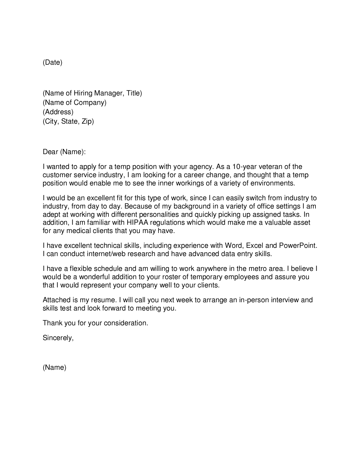 Entry Level Property Management Cover Letter Template