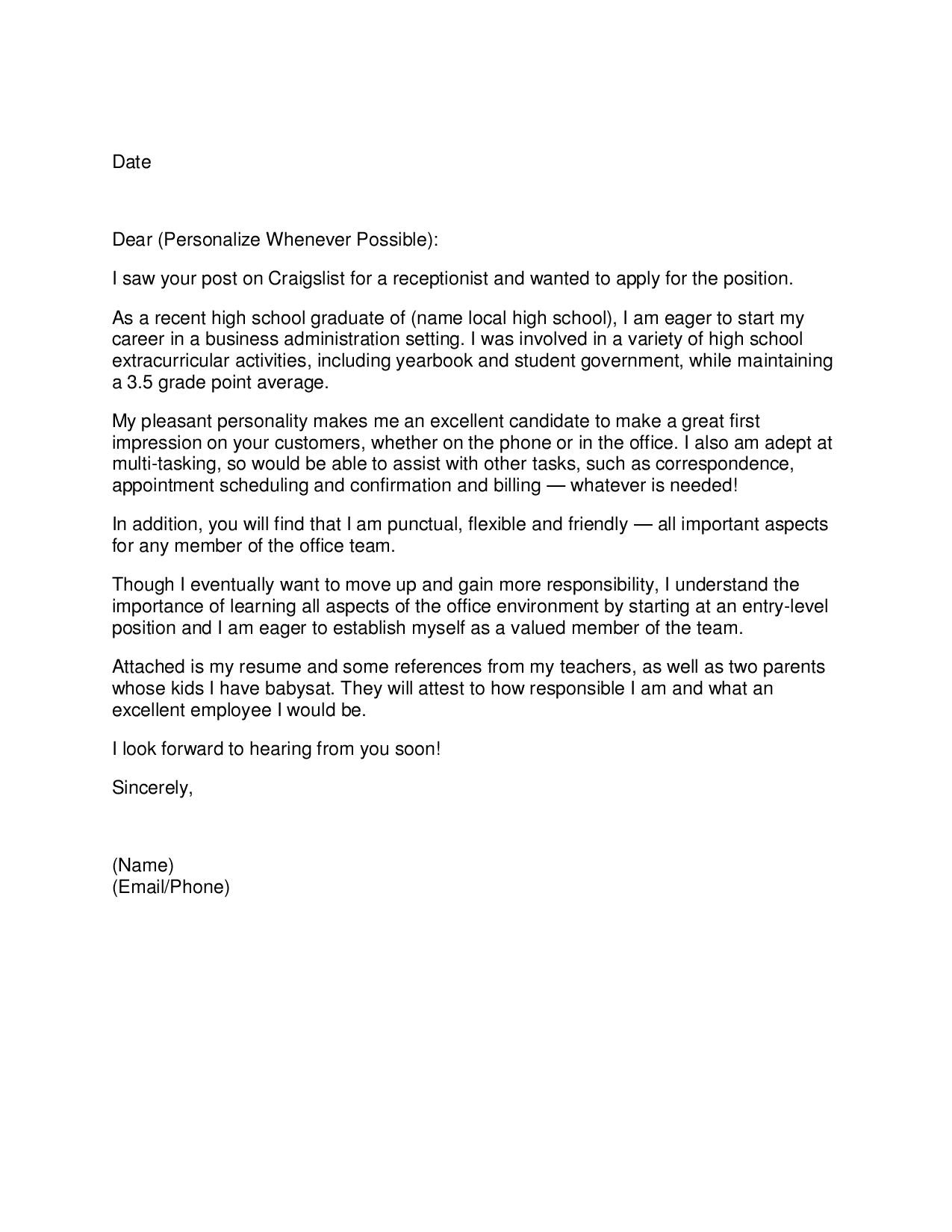 school receptionist resumes