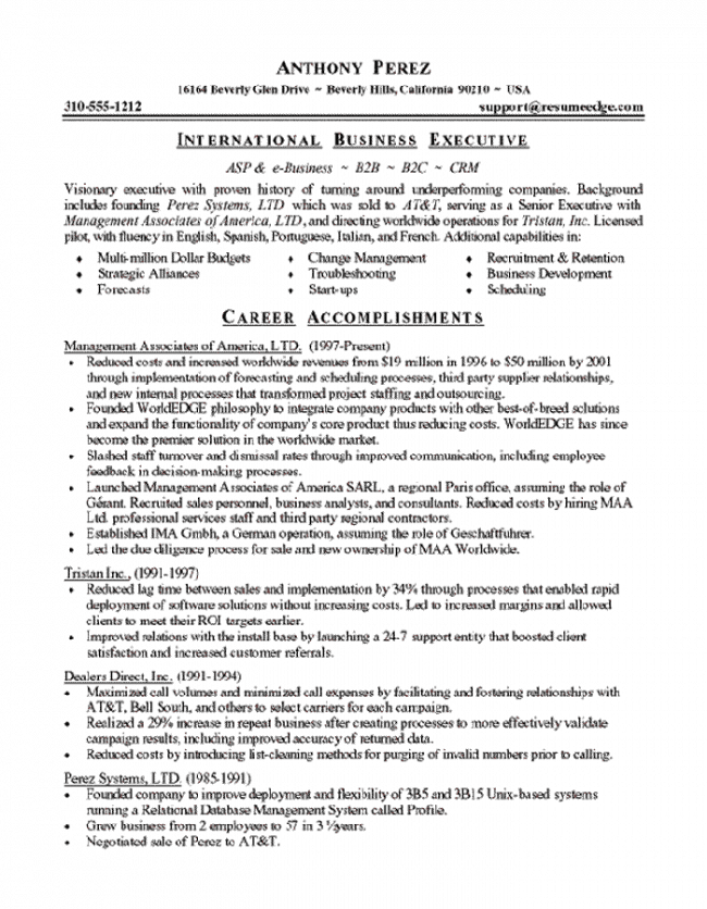 Software Executive Resume Page 1
