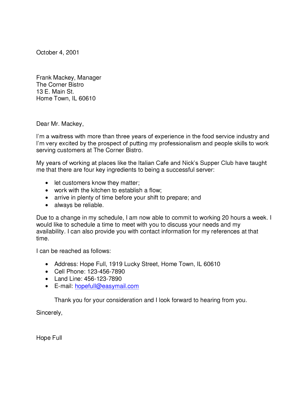 cover letter for assistant housekeeper waitress cover letter 27545 - Sample Housekeeper Cover Letter