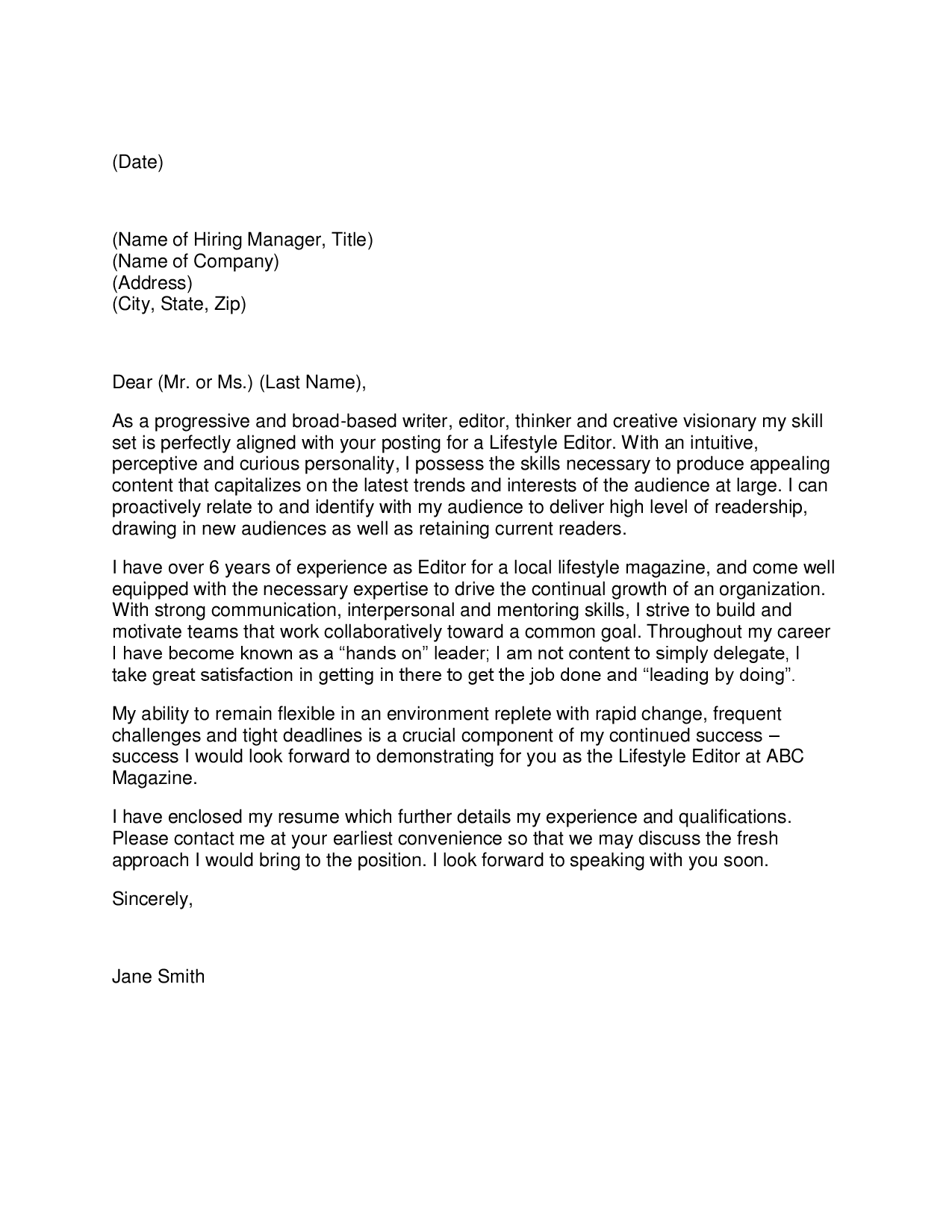 Powerful Cover Letter Opening Sentence Cover Letter Examples – Sample Journalism Cover Letter