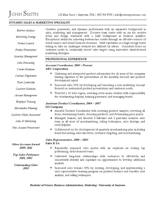 sales  u0026 marketing specialist resume  varied arrangement
