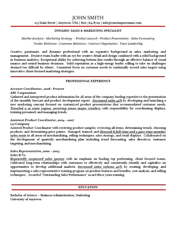sales marketing specialist resume traditional variation
