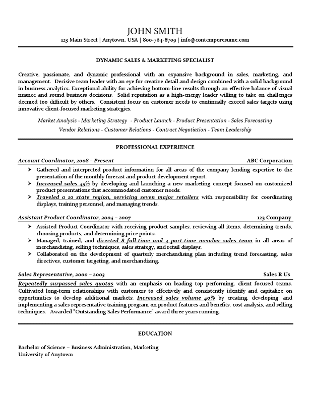 Sales Amp Marketing Specialist Resume Use Of Lines Bold