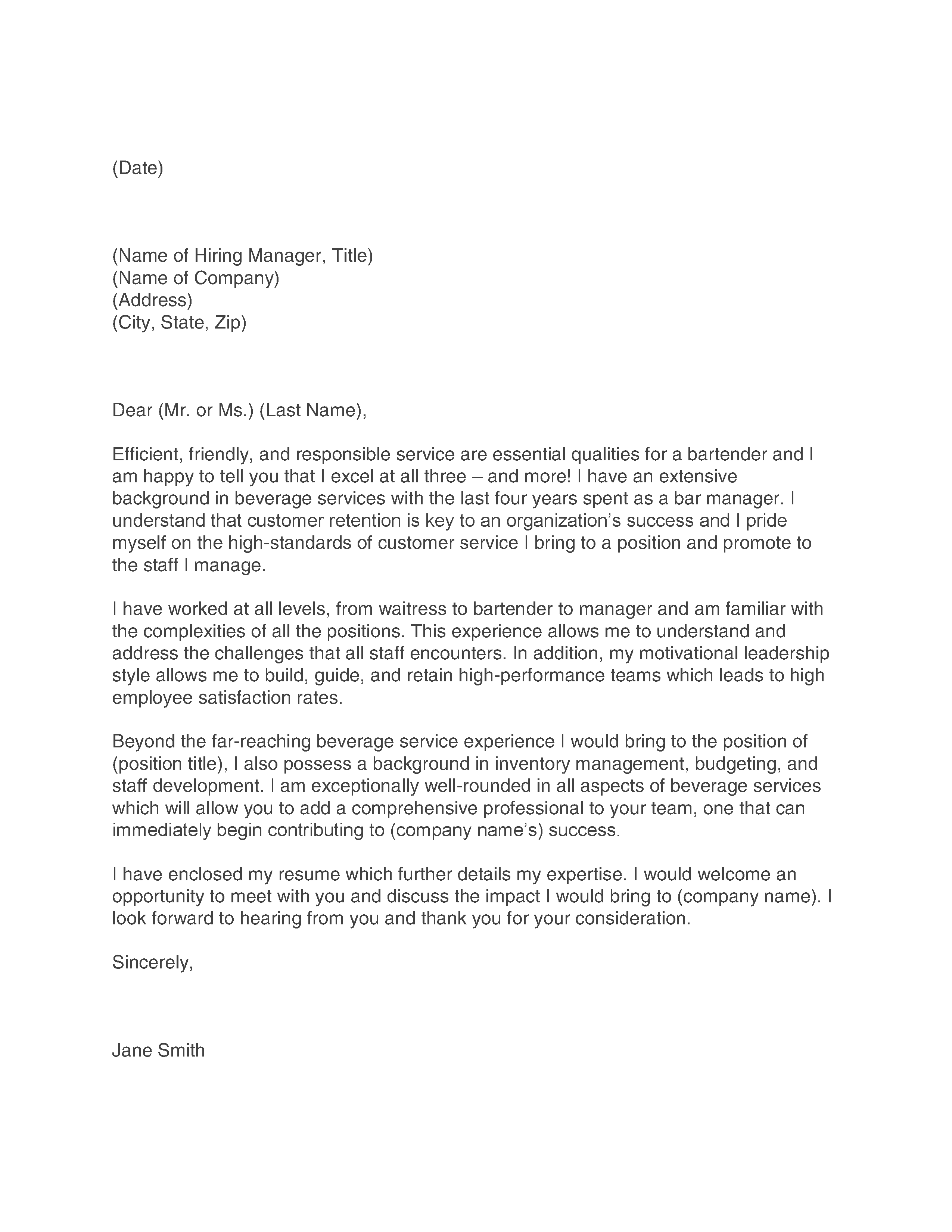 Cover letter for bartender with experience letter idea 2018 thesis phd dissertation 2017 team leadership essay virus resume templates waiter bartender madrichimfo Gallery