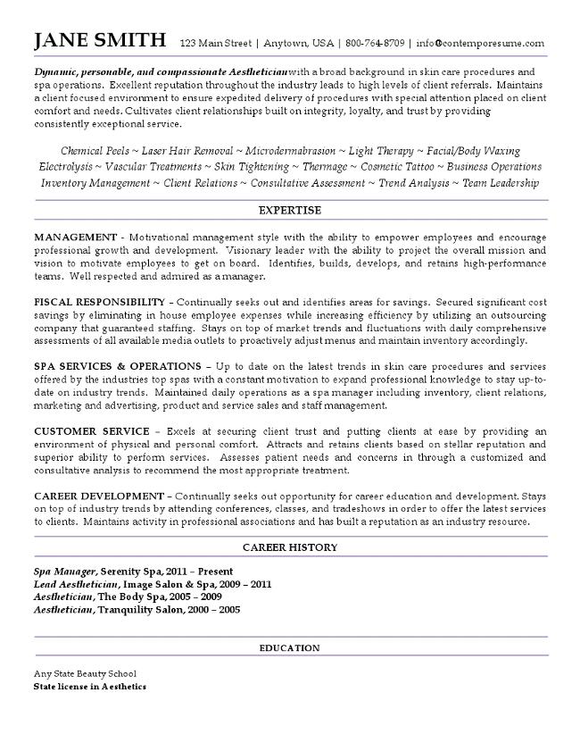 Aesthetician Resume