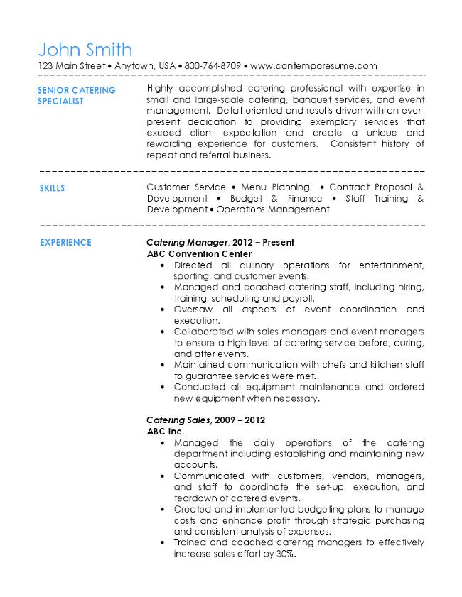 senior catering specialist resume