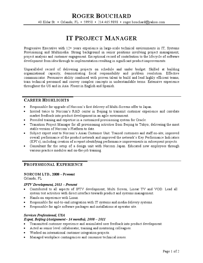 Project Manager Resume In Telecom  Software Project Manager Resume