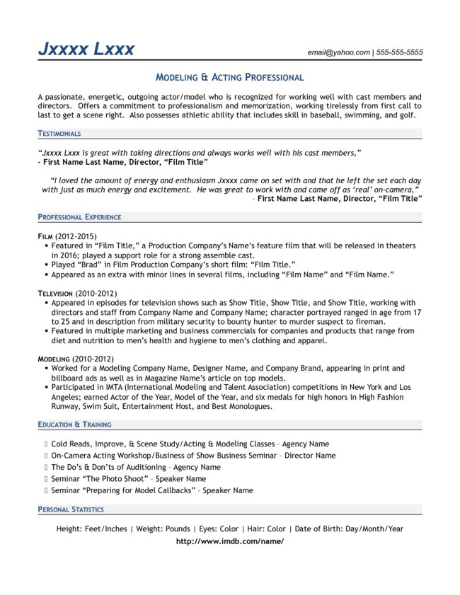 28 professional model resume resume exle 35